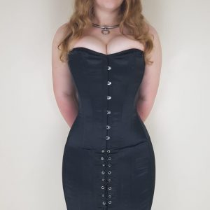 black pvc locking steel boned underbust corset  damned
